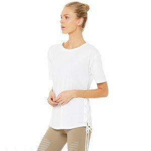 NWT Alo Yoga Bliss Short Sleeve Lace Up Tee White